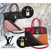 Louis Vuitton CITY STEAMER Monogram 2WAY Plain Leather Elegant Style Handbags