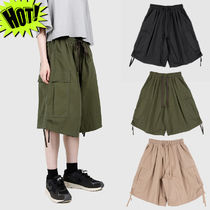 Raucohouse Unisex Street Style Plain Cotton Cargo Shorts