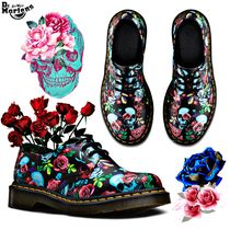 Dr Martens Skull Flower Patterns Casual Style Unisex Street Style
