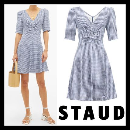Short Gingham Casual Style V-Neck Short Sleeves Dresses