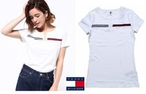 Tommy Hilfiger V-Neck Plain Cotton Medium Short Sleeves Logo T-Shirts
