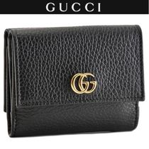 GUCCI GG Marmont Unisex Plain Leather Folding Wallets