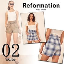 REFORMATION Short Tartan Casual Style Street Style Plain Cotton