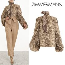 Zimmermann Leopard Patterns Silk Medium Elegant Style Puff Sleeves