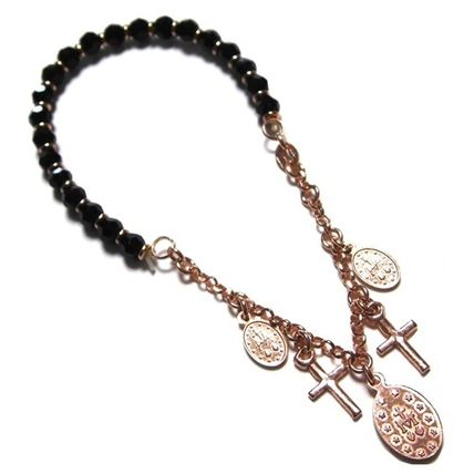 Casual Style Cross Chain Handmade 14K Gold Bracelets