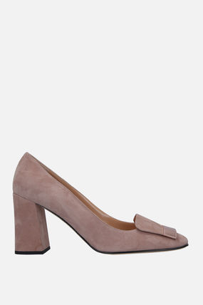 Square Toe Plain Leather Office Style Chunky Heels