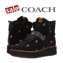 Coach Flower Patterns Platform Round Toe Casual Style Leather
