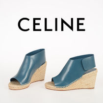 CELINE Plain Leather Platform & Wedge Sandals