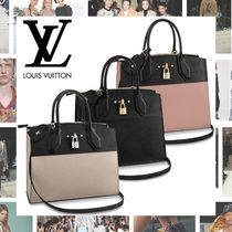 Louis Vuitton CITY STEAMER Blended Fabrics A4 2WAY Plain Leather Elegant Style Handbags