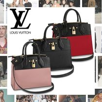 Louis Vuitton CITY STEAMER Calfskin Blended Fabrics 2WAY Plain Elegant Style Handbags