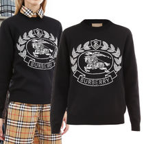 Burberry Crew Neck Casual Style Wool Rib Long Sleeves Plain Sweaters