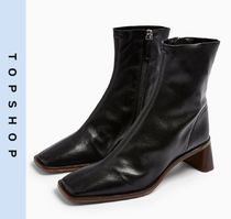 TOPSHOP Casual Style Leather Block Heels Mid Heel Boots