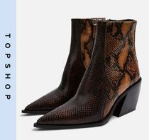 TOPSHOP Casual Style Leather Block Heels Python Mid Heel Boots