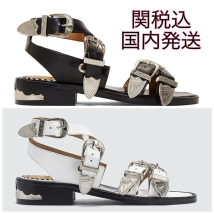 Casual Style Leather Block Heels Sandals