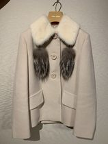 MiuMiu Short Casual Style Wool Plain Peacoats