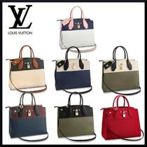 Louis Vuitton CITY STEAMER 2WAY Bi-color Plain Leather Elegant Style Handbags