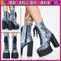 DOLLS KILL Platform Round Toe Lace-up Casual Style Faux Fur Python