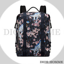 DIOR HOMME Flower Patterns Nylon Blended Fabrics Backpacks