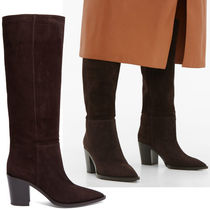 Gianvito Rossi Suede Plain Chunky Heels High Heel Boots
