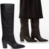 Gianvito Rossi Plain Leather Chunky Heels High Heel Boots