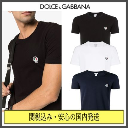 Dolce & Gabbana Crew Neck Crew Neck Street Style Plain Cotton Short Sleeves