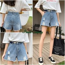 Short Denim Street Style Plain Denim & Cotton Shorts