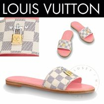 Louis Vuitton DAMIER AZUR Other Check Patterns Open Toe Casual Style Blended Fabrics