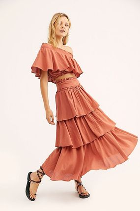 Casual Style Flared Plain Cotton Long Tired Dresses