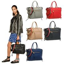 MiuMiu Casual Style Plain Leather Logo Handbags