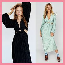 Free People Maxi V-Neck Long Sleeves Plain Long Party Style Dresses