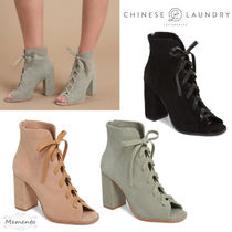 CHINESE LAUNDRY Open Toe Suede Plain Elegant Style Chunky Heels