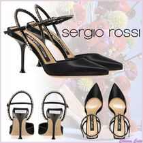 Sergio Rossi Plain Pin Heels Party Style Pointed Toe Pumps & Mules