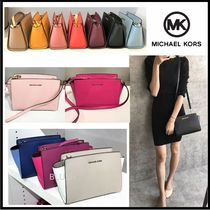 Michael Kors SELMA 2WAY Plain Leather Crossbody Shoulder Bags