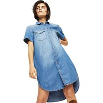 DIESEL Denim Street Style Plain Short Sleeves Dresses