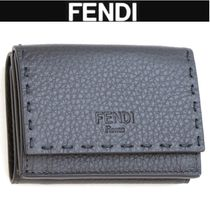 FENDI SELLERIA Unisex Plain Leather Folding Wallets