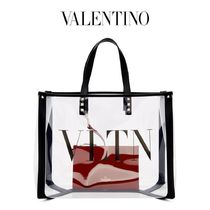 VALENTINO VLTN Casual Style Bag in Bag A4 PVC Clothing Logo Totes
