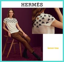 HERMES Crew Neck Flower Patterns Casual Style Cashmere