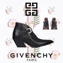 GIVENCHY Studded Plain Leather Chunky Heels Ankle & Booties Boots