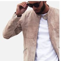 WILLIAM STROUCH Suede Plain Biker Jackets