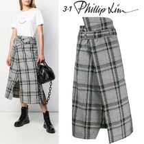 3.1 Phillip Lim Tartan Medium Elegant Style Midi Skirts