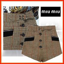 MiuMiu Short Other Check Patterns Casual Style Wool Shorts