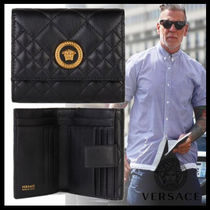VERSACE Street Style Leather Folding Wallets