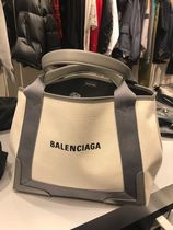 BALENCIAGA CABAS Casual Style Canvas Street Style A4 Bi-color Plain Leather