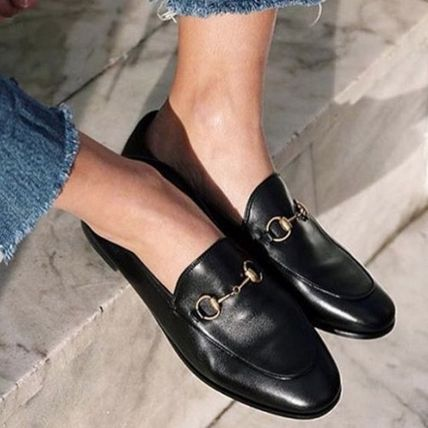 Round Toe Plain Leather Loafer Pumps & Mules