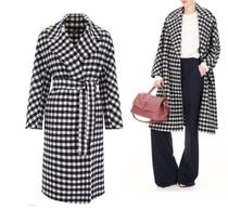 MaxMara Gingham Wool Long Wrap Coats