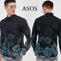 ASOS Button-down Flower Patterns Street Style Long Sleeves Cotton