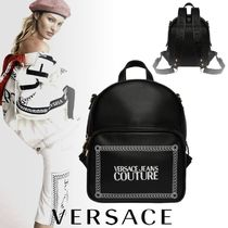 VERSACE JEANS Casual Style Unisex Faux Fur 2WAY Chain Backpacks