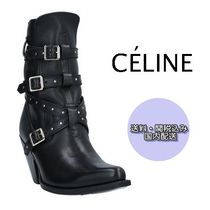 CELINE Casual Style Plain Leather High Heel Boots