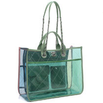 CHANEL A4 Plain Crystal Clear Bags PVC Clothing Totes A57411