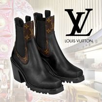 Louis Vuitton MONOGRAM Monogram Unisex Leather Mid Heel Boots
